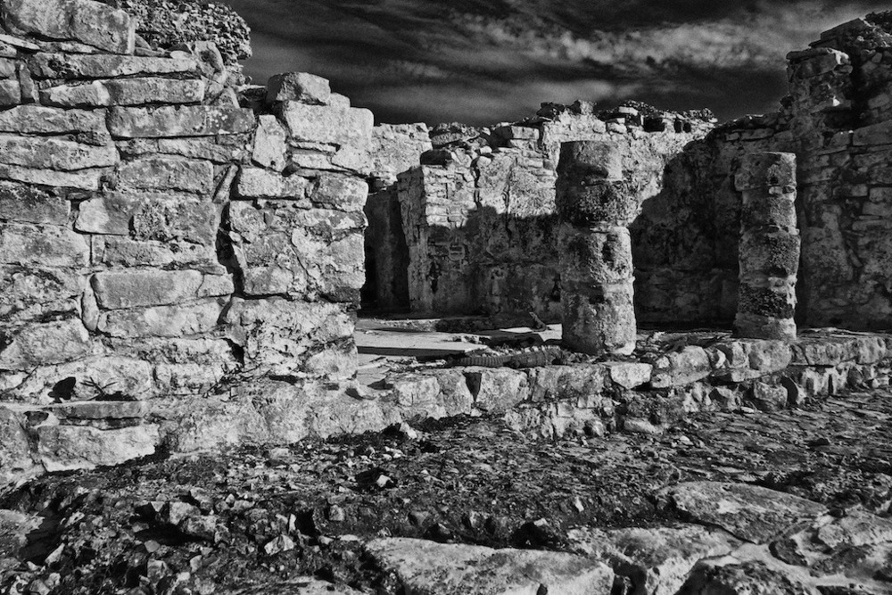 2011-03-16 at 14-16-01 ancient, architecture, black & white, dramatic, history, house, mexico, ruins, stone, tulum.jpg