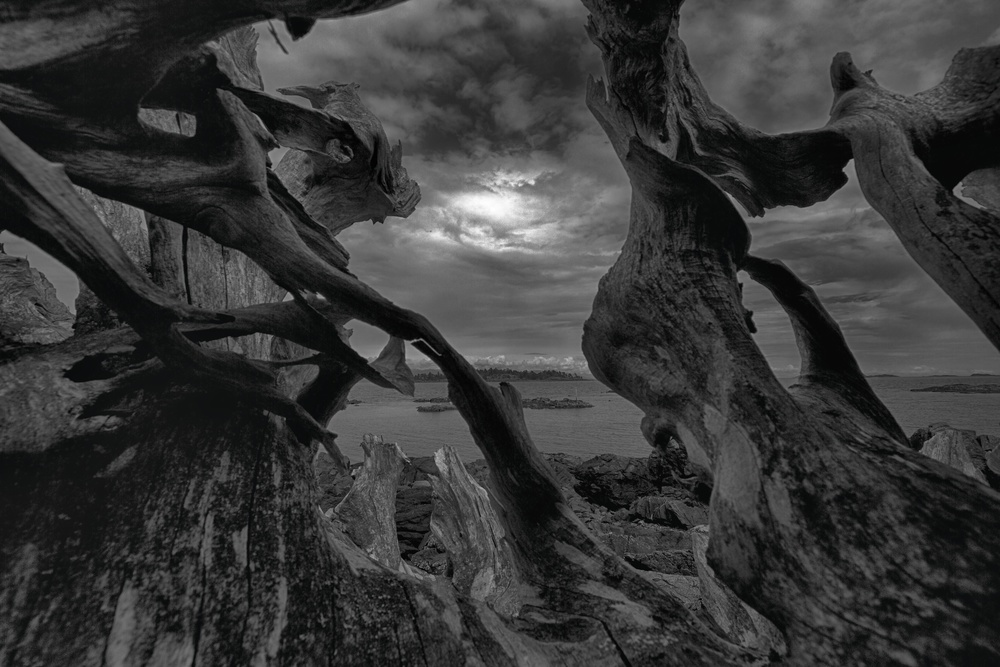 A wooden dragon looks out over the ocean to an unsettled sky. Canon EOS 7D EF-S 10-22mm at 10mm f/10 1/640 ISO 100