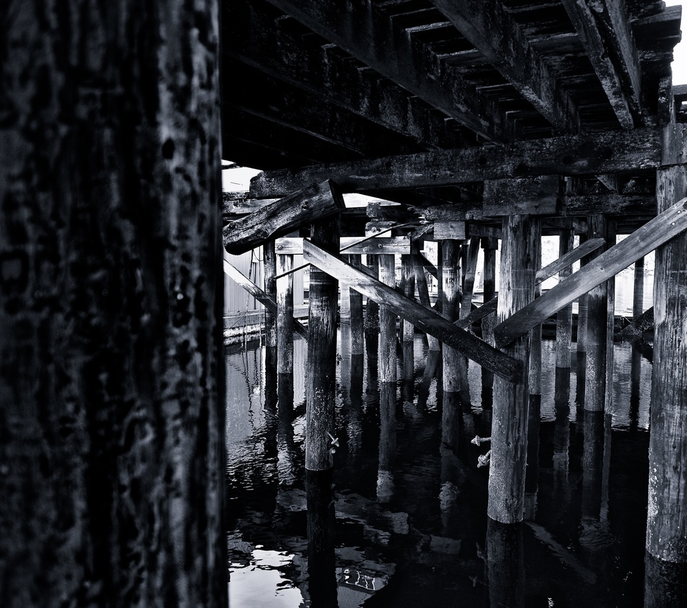 Under a pier the glassy smooth water contrasts with the barnacle covered posts.  Fuji X-E2 XF 14mm 2.8 at f/2.8 1/42 ISO 400
