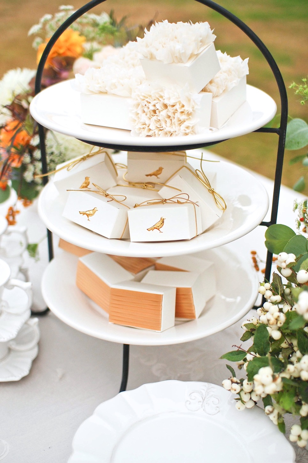 Piled together, these favor boxes create a stunning display.