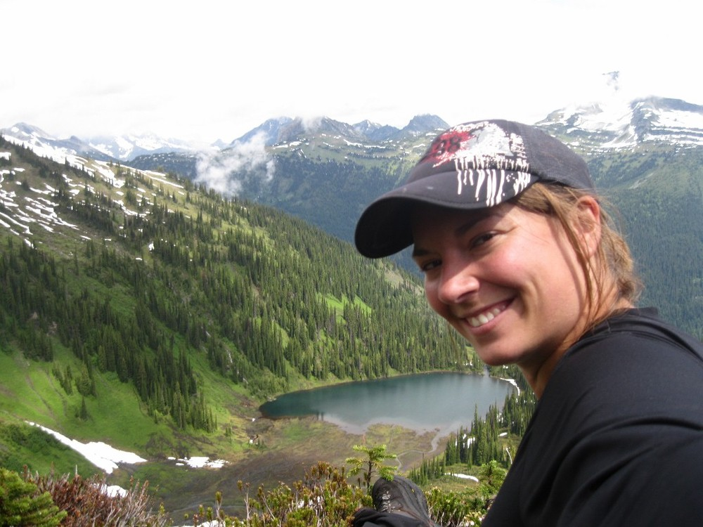 Leanne hiking Mt Fidelity with Schuss Lake in the background. Glacier National Park 2011