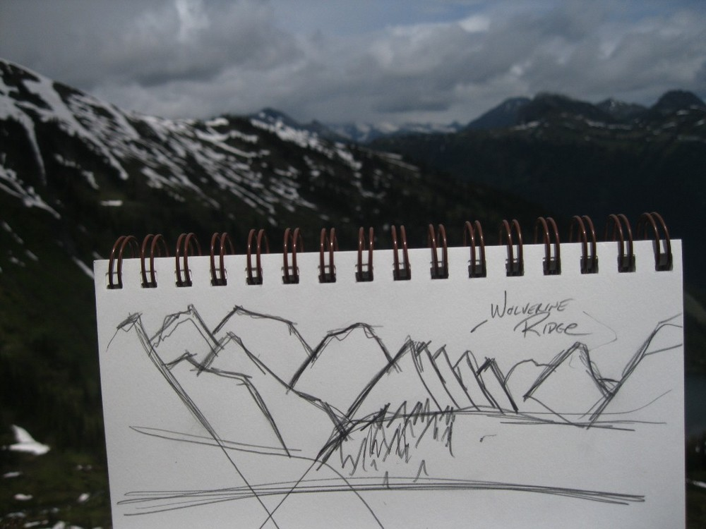 Sketch of Wolverine Ridge taken while hiking on Mt Fidelity