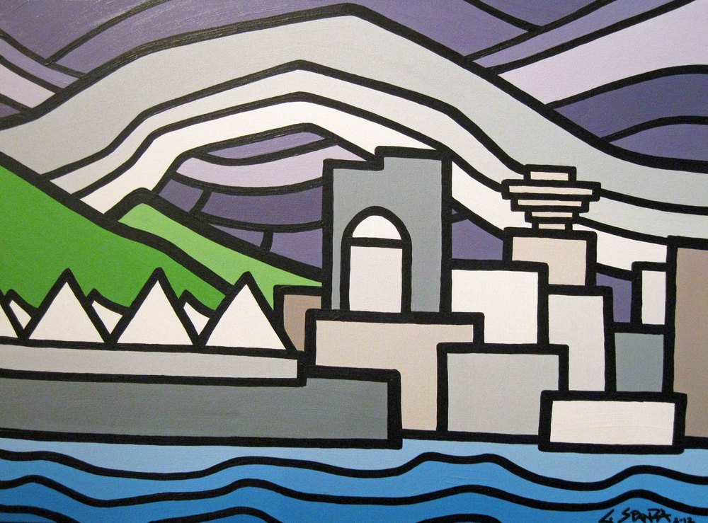 "Title: Canada Place -  NOW SOLD!!   Size: 18"" x 24"" Acrylic on Canvas  Price: $280  Click on the image for more on the story behind this painting."