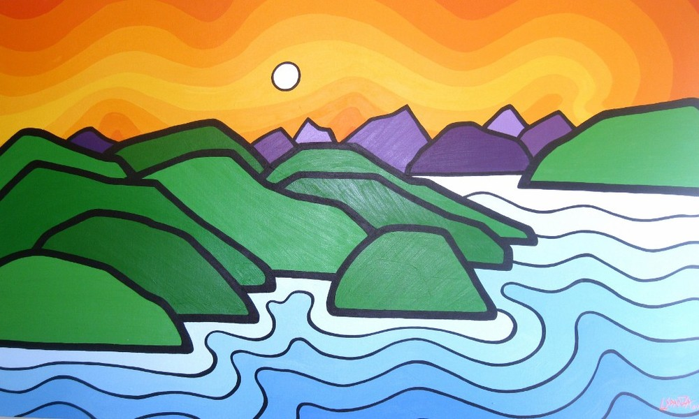 "Title: Salt Spring Island  Size: 36"" x 60"" Acrylic on Canvas  Price: $1000  Click on the image for more on the story behind this painting"