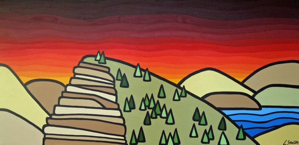 "Title: Layer Cake Mountain Size: 24"" x 48"" Acrylic on Canvas SOLD - Commission 2012 Click on the image to read the story behind this painting"
