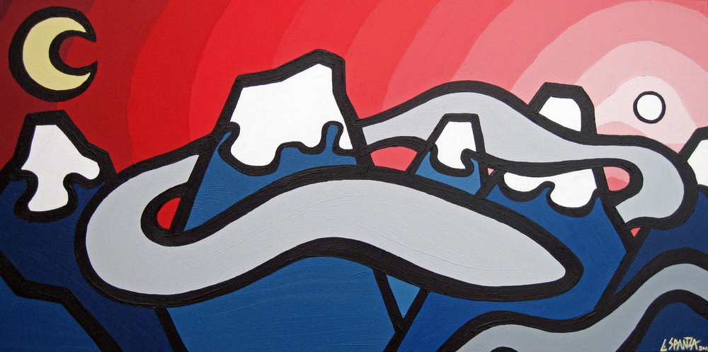 "Title: Clouds Hugging Mountains, 2011  Size: 12"" x 24"" Acrylic on Canvas  SOLD"