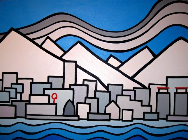 "Title: View from the Seabus, 2012  Size: 30"" x 40"" Acrylic on Canvas  SOLD"