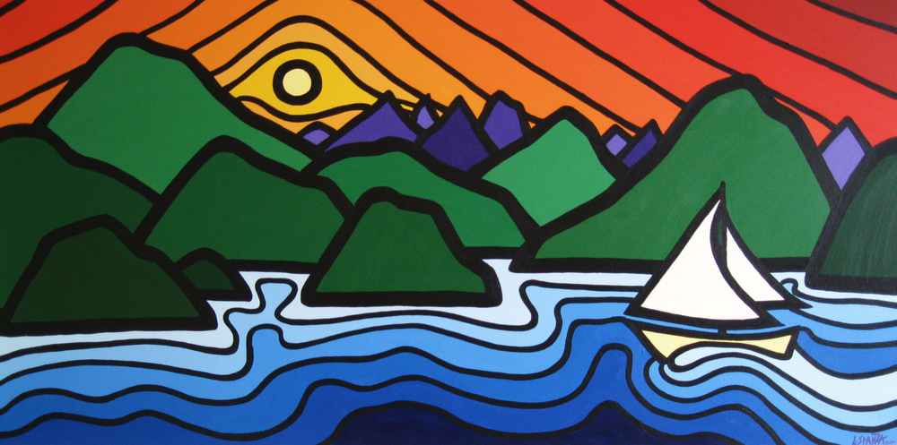 "Title: Sailor's Delight, 2010 Size: 24"" x 48"" Acrylic on Canvas SOLD"