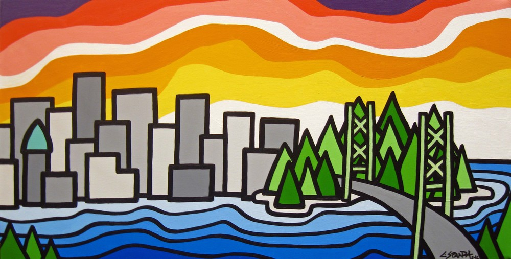 "Title: The City, 2012 Size: 18"" x 36"" Acrylic on Canvas SOLD"