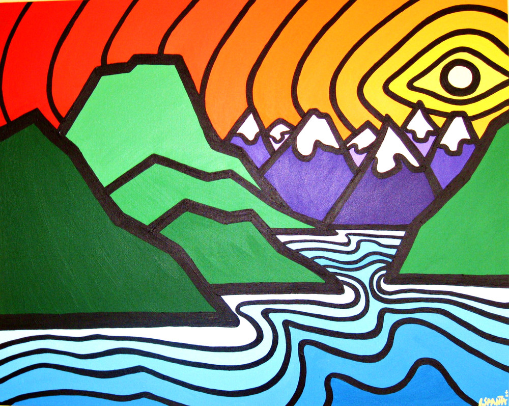 "Title: Sunshine Coast & Mountains, 2011 Size: 24"" x 30"" Acrylic on Canvas SOLD"