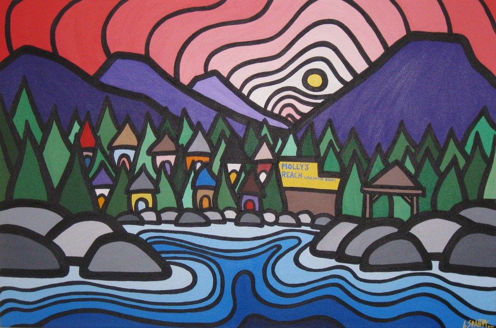 "Title: Colourful Gibsons, 2010 Size: 24"" x 36"" Acrylic on Canvas SOLD"