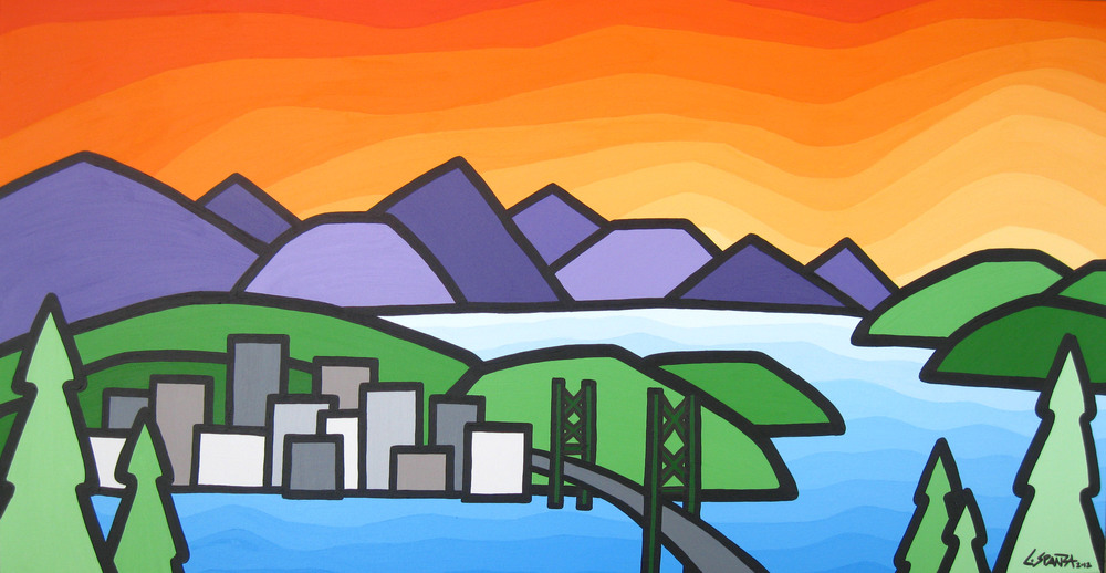 "Title: A View from Grouse Mountain, 2012 Size: 24"" x 48"" Acrylic on Canvas COMMISSION - SOLD"