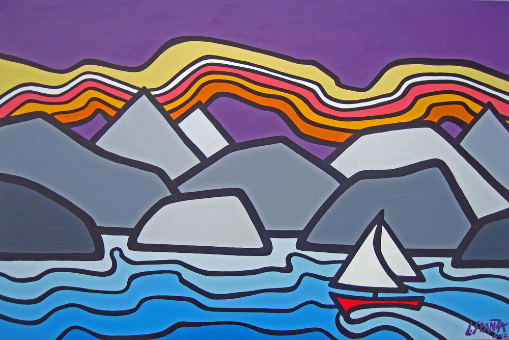 "Title: Early Morning Sailing Size: 24"" x 36"" Acrylic on Canvas SOLD"