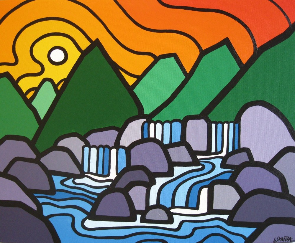 "Title: Four Falls, 2010 Size: 24"" x 30"" Acrylic on Canvas SOLD"