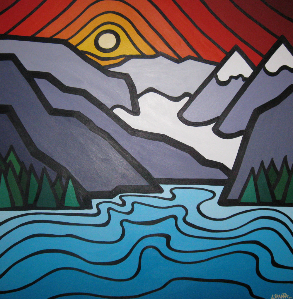 "Title: Lake Louise, 2010 Size: 36"" x 36"" Acrylic on Canvas"