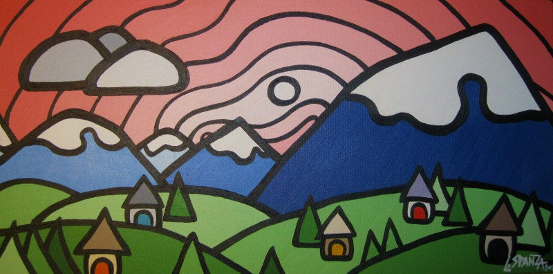 "Title: Mt Baker, 2011 Size: 12"" x 24"" Acrylic on Canvas COMMISSION - SOLD"