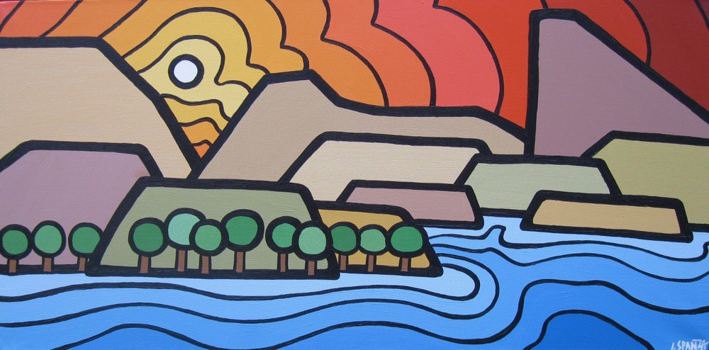 "Title: Sun-Oka Point, 2011 Size: 18"" x 36"" Acrylic on Canvas COMMISSION - SOLD"