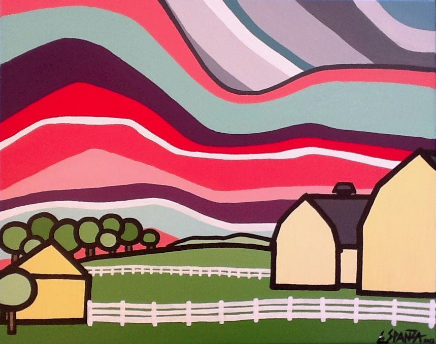 "Title: The Farm, 2012 Size: 16"" x 20"" Acrylic on Canvas COMMISSION - SOLD"