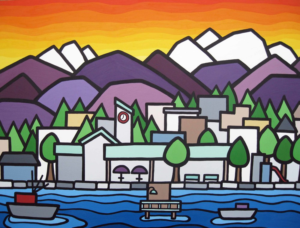 "Title: The Harbour Quay  Size: 30"" x 40"" Acrylic on Canvas  Price: $750"