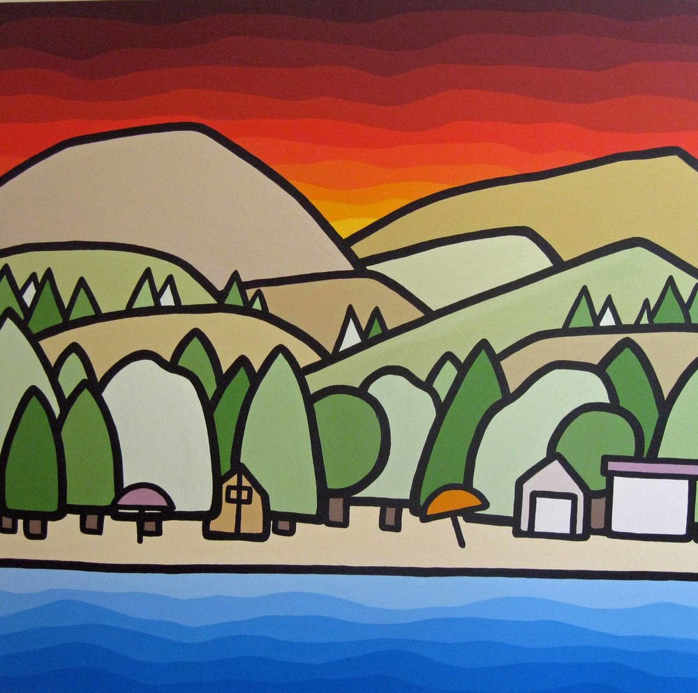 "Title: Skaha Camping Size: 36"" x 36"" Acrylic on Canvas COMMISSION - SOLD"