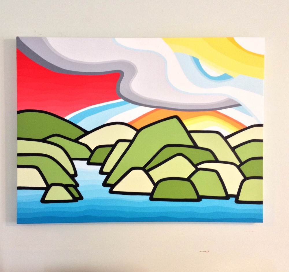 "Title: Sunset on the River -  SOLD   Size: 30"" x 40"" Acrylic on Canvas  Price: $650 (shipping available)   Inspired by that sun kissed feeling of spending all day outside playing, hiking, swimming, fishing and exploring our beautiful backyard of British Columbia"