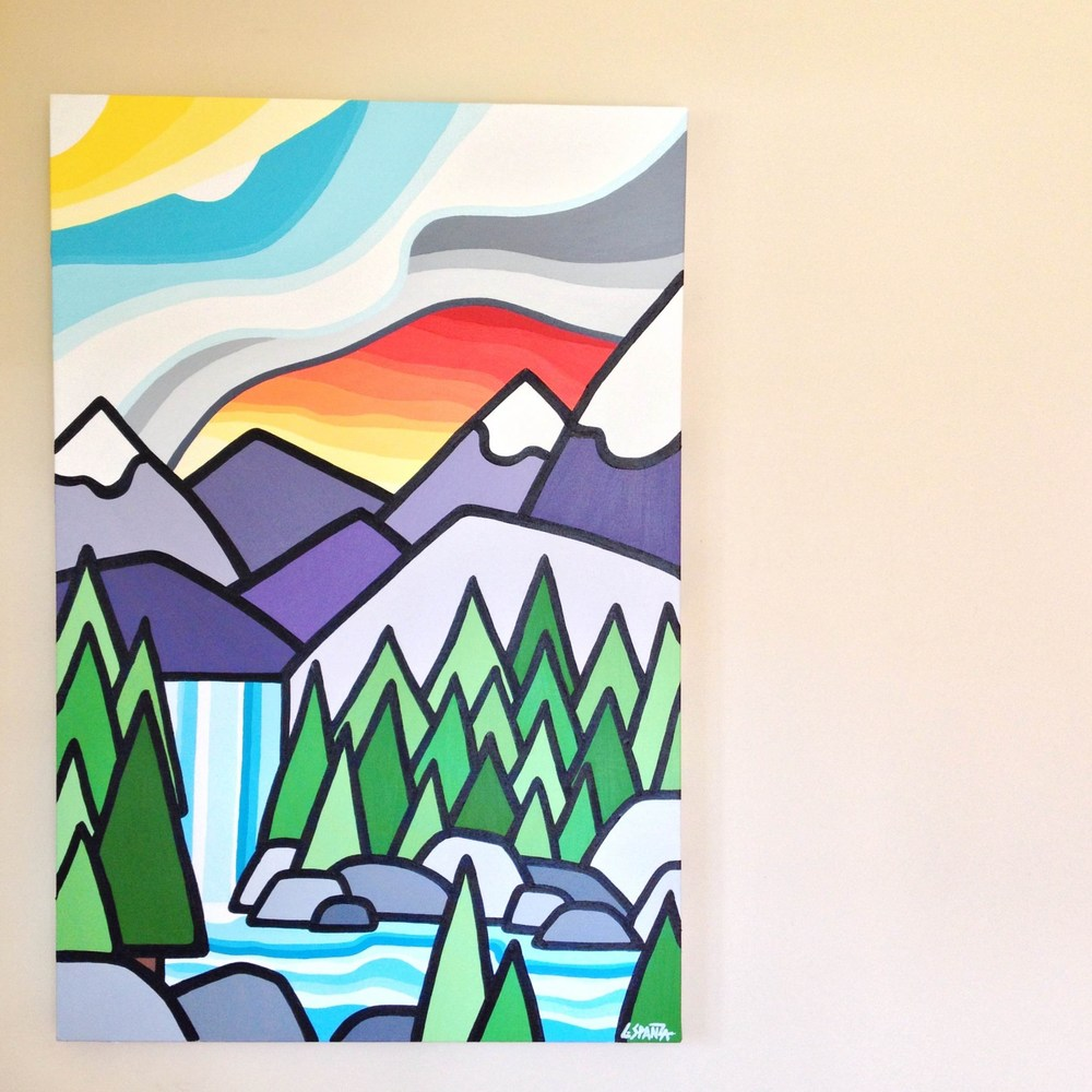 "Title: Made It -  SOLD!   Size: 36"" x 24"" Acrylic on Canvas  Price: $550  Inspired by that feeling when you make it to the end of the hike to see the waterfall.   If interested please email me at leannespanza@gmail.com"