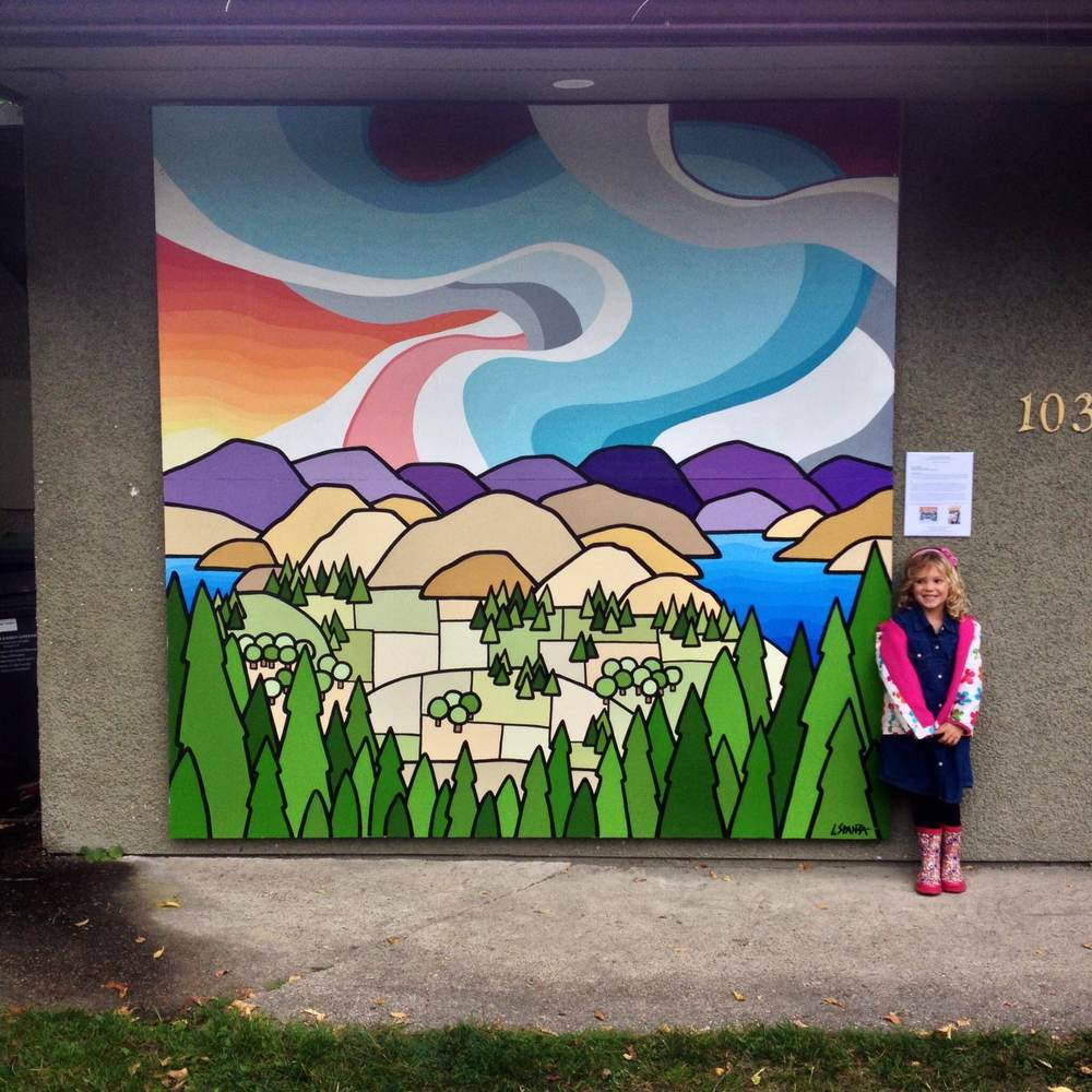 My First Mural!! I'm so thrilled to have this opportunity, its been a dream! Especially to have done it in my home town of Lake Country.  My favourite girl in the world, my daughter Joni next to it.   This is the view from Spion Kop, looking over Okanagan Lake and Duck Lake with the beautiful orchards and golden hills. This mural is available, painted acryli on two sheets of 4' x 8' wood.  Title: Spion Kop  Size: 8' x 8' acrylic on wood  Price: $3450  Email: leannespanza@gmail.com