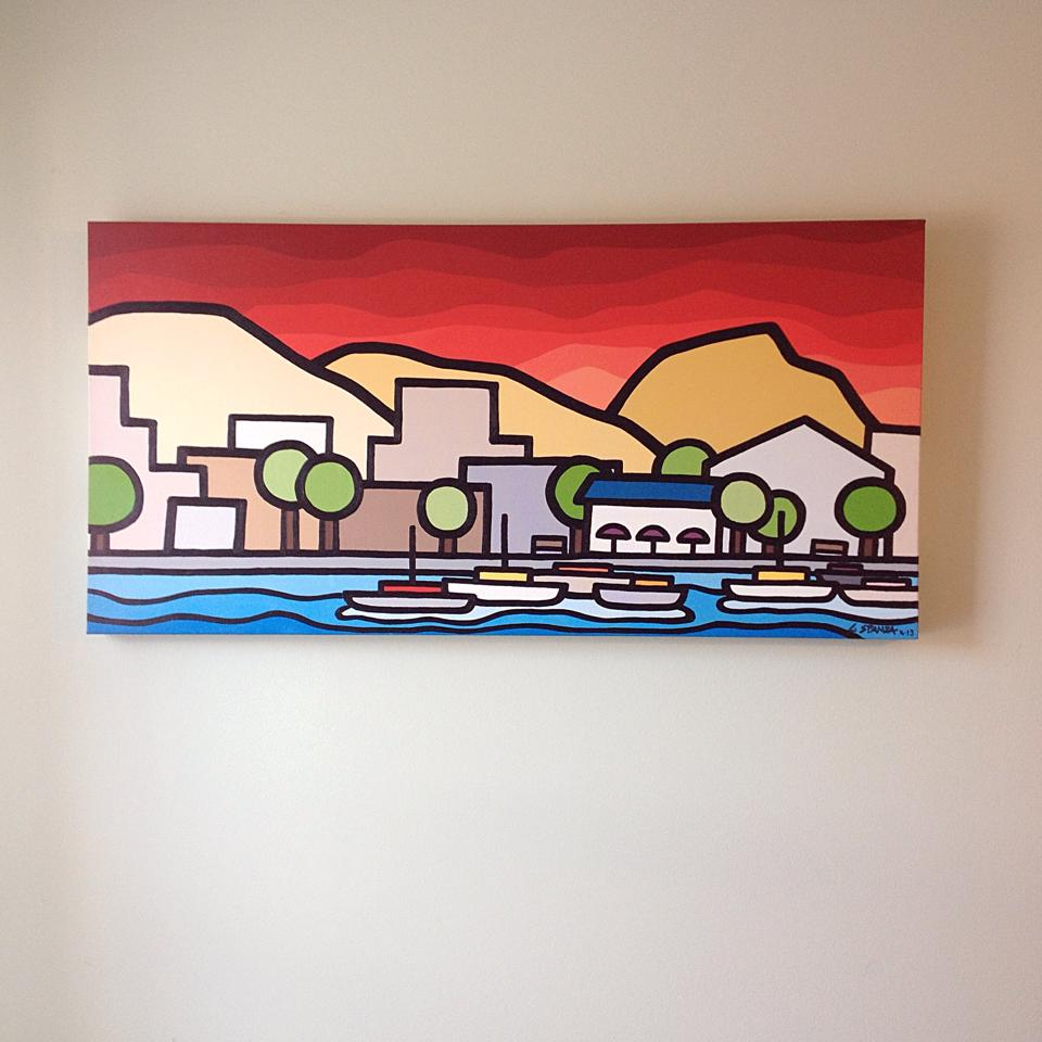 "Title: Kelowna Yacht Club -  SOLD!   Size: 18"" x 36"" Acrylic on Canvas  Price: $450  If you're interested please send me an email at leannespanza@gmail.com"
