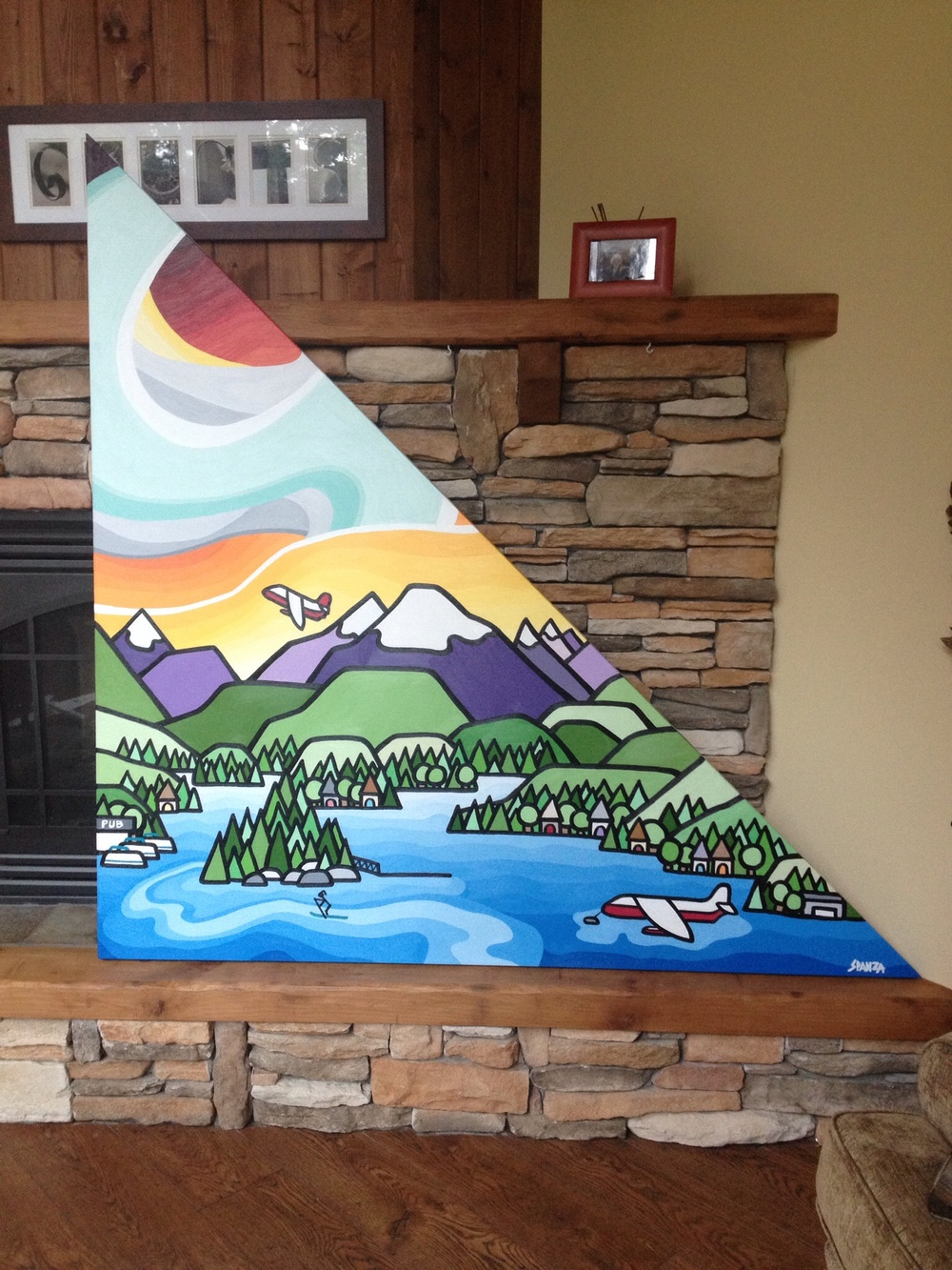 "My first triangle painting includes all the features of Sproat Lake that this beautiful family loves. Size 68"" x 68"" x 96"" acrylic on canvas. SOLD - Commission"