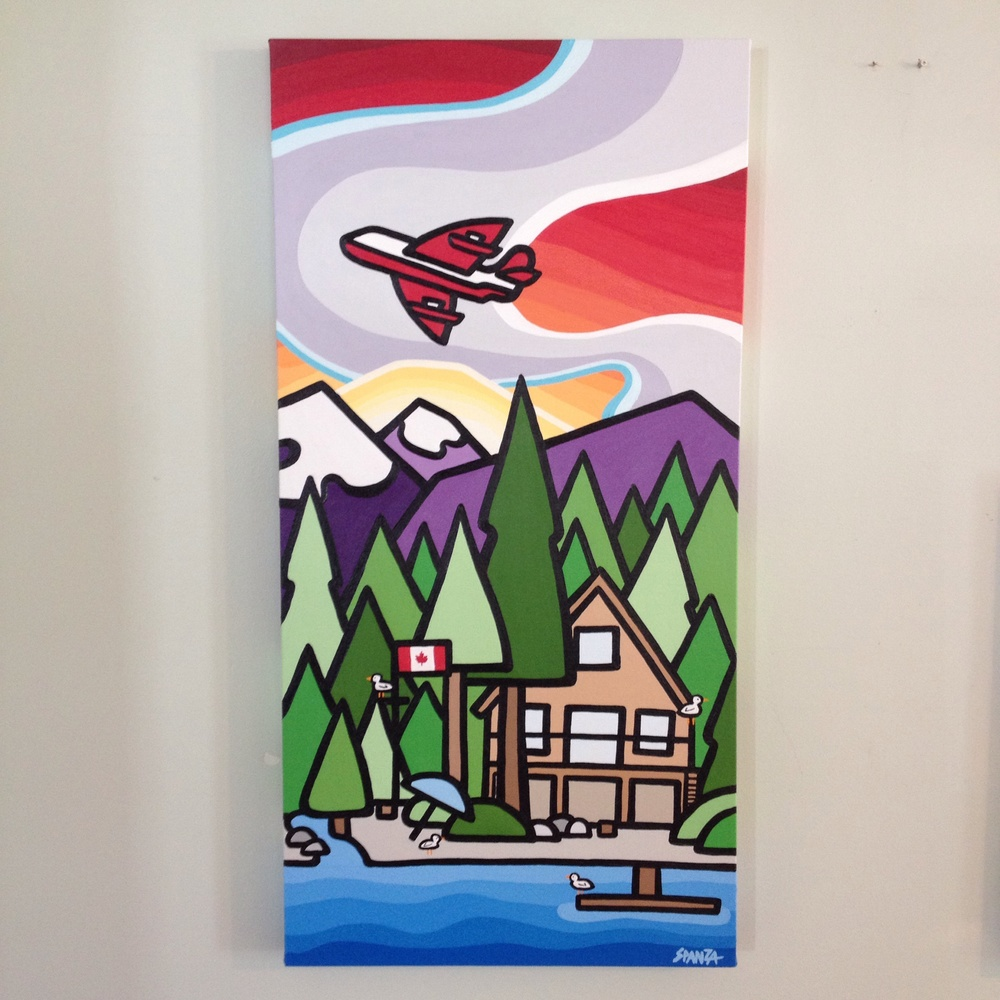 "My latest but not last commission that was given as a gift for a family with a cabin on Sproat Lake. 36"" x 18"" acrylic on canvas. SOLD - commission"