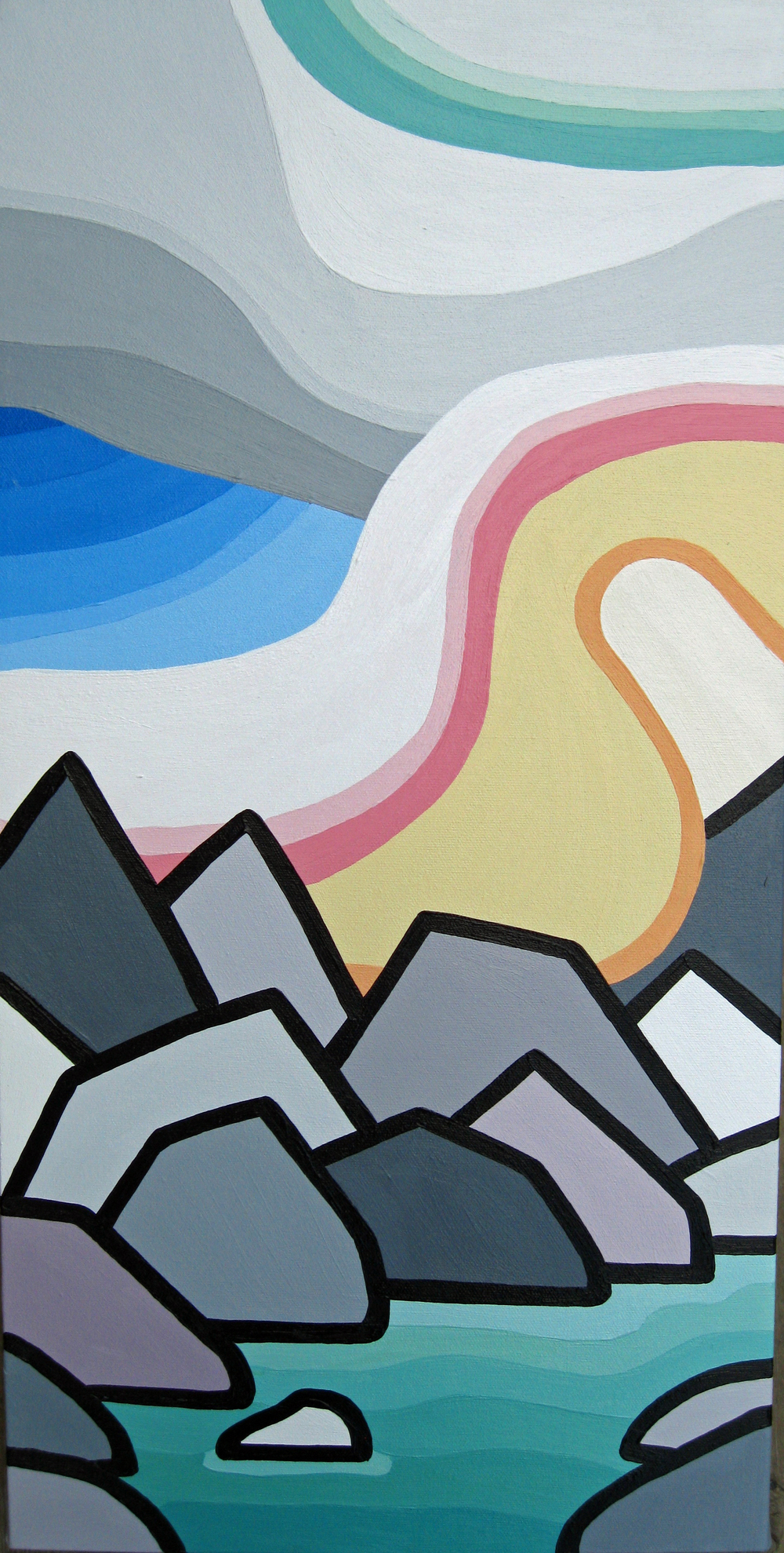 "Title: The Rockies -  SOLD!!!   Size: 24"" x 12"" acrylic on canvas  Price: $250"