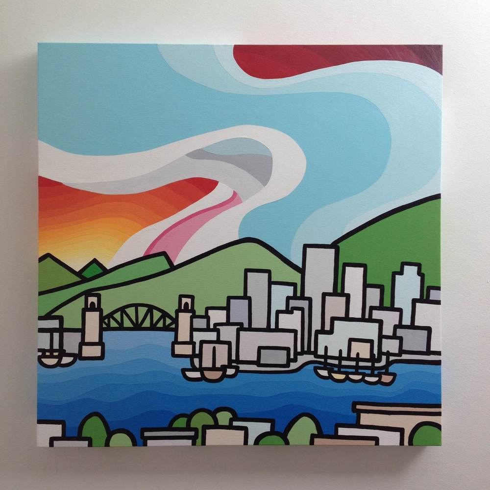 "Title: Burrard Bridge -  NOW SOLD!   Size: 30"" x 30"" acrylic on canvas  Price: $600"