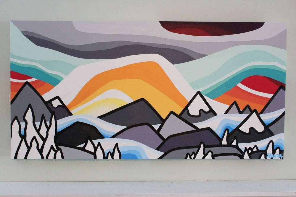 "My first available painting of 2016! I'm so inspired by the mountains and rich colours against the white 'Snowghosts' of the hills. Happy New Year out there!  Title: Breakthrough   -NOW SOLD!!!-   Size: 18"" x 36"" acrylic on canvas  Price: $475 shipping and pick up available  Email: leannespanza@gmail.com"
