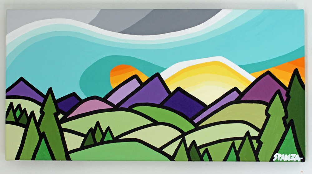 "Title: Let's Go to the Mountains -  SOLD   Size: 10"" x 20"" acrylic on canvas  Price: $200  Email: leannespanza@gmail.com"