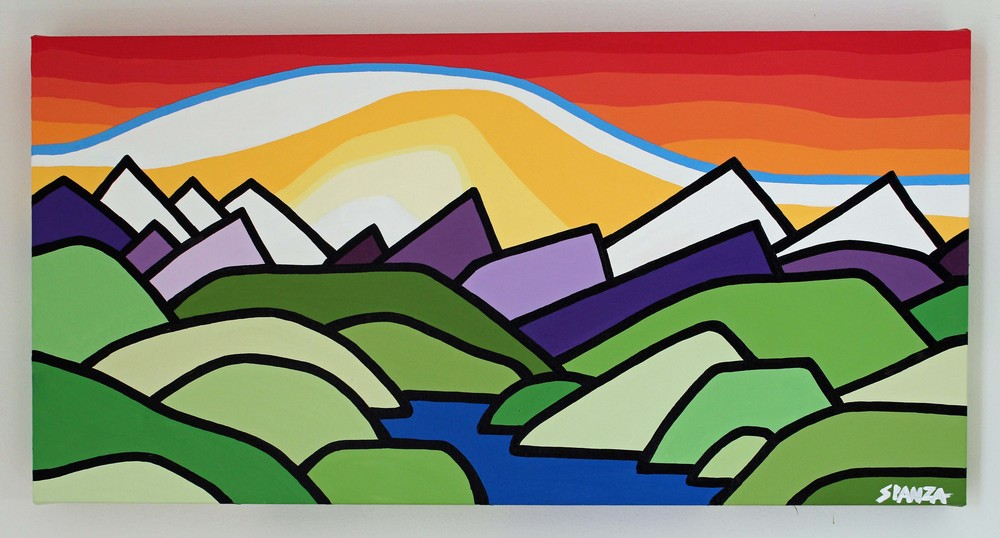 "Title: The Foothills -  SOLD  Size: 12"" x 24"" acrylic on canvas  Price: $250   Email: leannespanza@gmail.com"