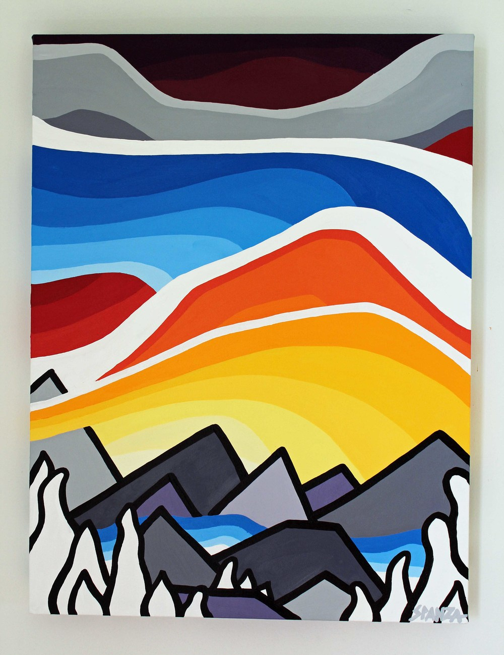 "Title: Summit - SOLD  Size: 24"" x 18"" acrylic on canvas  Price: $325  Email: leannespanza@gmail.com"