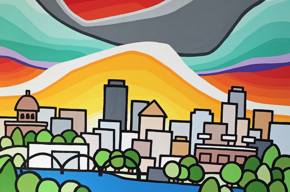 "Title: Edmonton   Size: 24"" x 36"" acrylic on canvas  Price: $600  Email: leannespanza@gmail.com"
