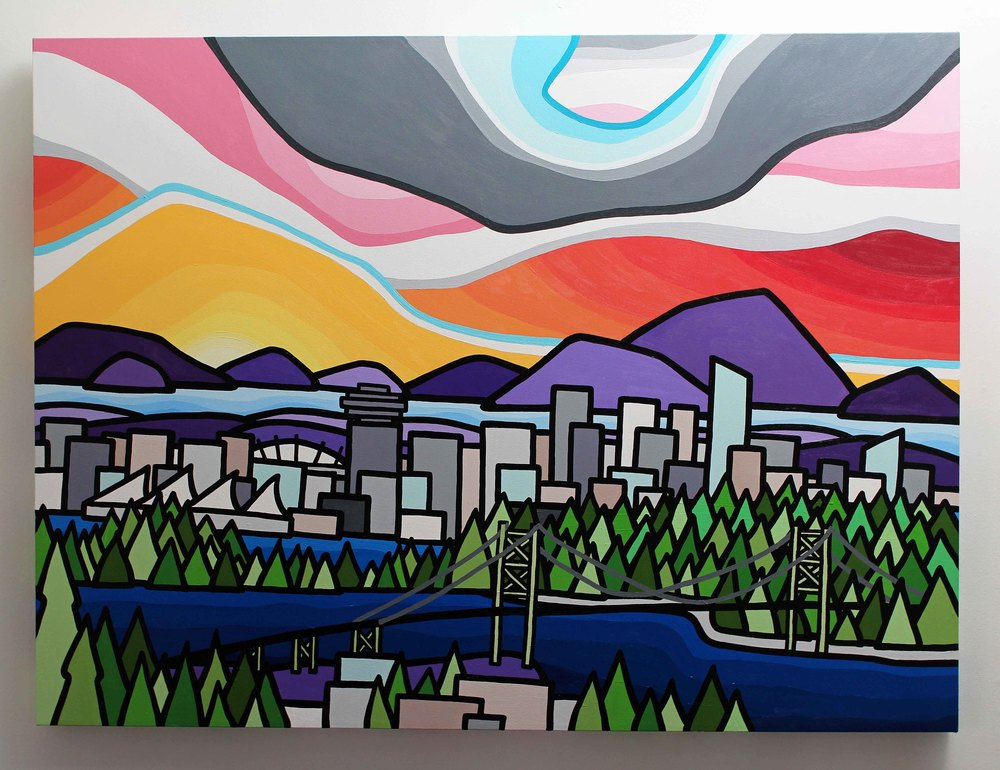 "Title: Vancouver  Size: 36"" x 48"" acrylic on canvas  Price: $1200  SOLD!   Email: leannespanza@gmail.com if interested."