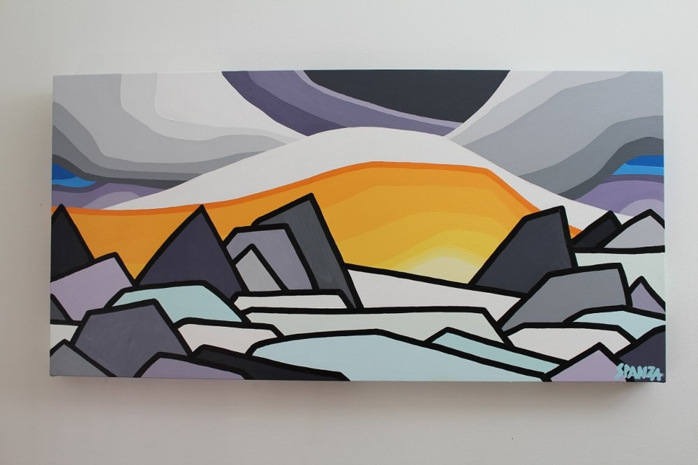 "Title: The Glacier - SOLD  Size: 18"" x 36"" acrylic on canvas  Price: $450 shipping available.   Email: leannespanza@gmail.com"