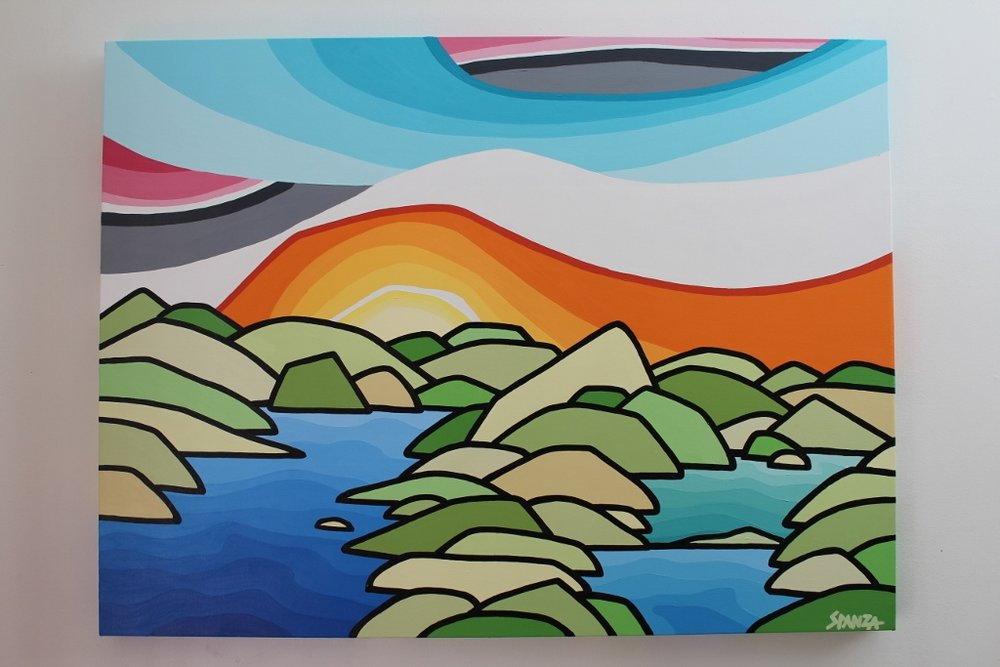 "Title: Lake Country  Size: 30"" x 40"" acrylic on canvas  Price: $750 Shipping available   Email: leannespanza@gmail.com"