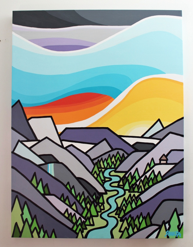 "Title: Asulkan Valley -  SOLD   Size: 40"" x 30"" acrylic on canvas  Price: $800 shipping available  NOTE: This painting is currently on display at the Revelstoke Art Gallery as part of the Art in the Park exhibition. If you're interested it might just take a little longer to get into your hands but we can make it work :)    Email: leannespanza@gmail.com"