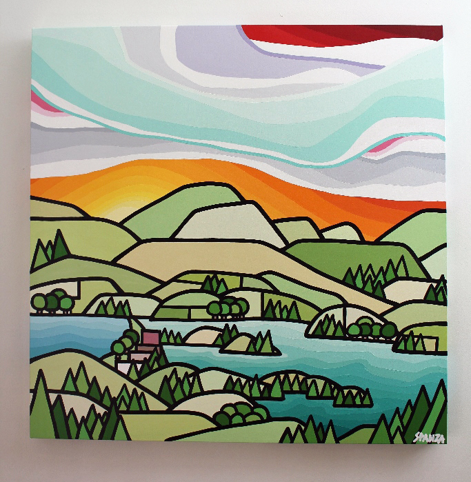 "Title: Lakes and Orchards (Kalamalka ) - SOLD  Size: 36"" x 36"" acrylic on canvas  Price: $800 shipping available"