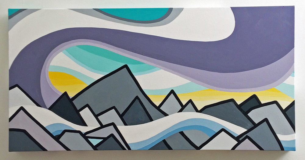 "Title: Along the Ridge  Size: 18"" x 36"" acrylic on canvas  Price: $500 Shipping Available. NOTE: This painting is currently on display at the Revelstoke Art Gallery as part of the Art in the Park exhibition. If you're interested it might just take a little longer to get into your hands but we can make it work :)   Email: leannespanza@gmail.com"
