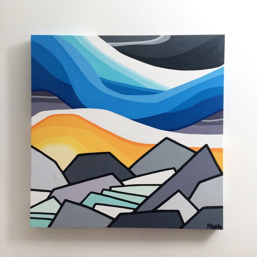 "Title: Made it to the Glacier - SOLD   Size: 30"" x 30"" acrylic on canvas   Price: $600 shipping available  NOTE: This painting is currently on display at the Revelstoke Art Gallery as part of the Art in the Park exhibition. If you're interested it might just take a little longer to get into your hands but we can make it work :)    Email: leannespanza@gmail.com"