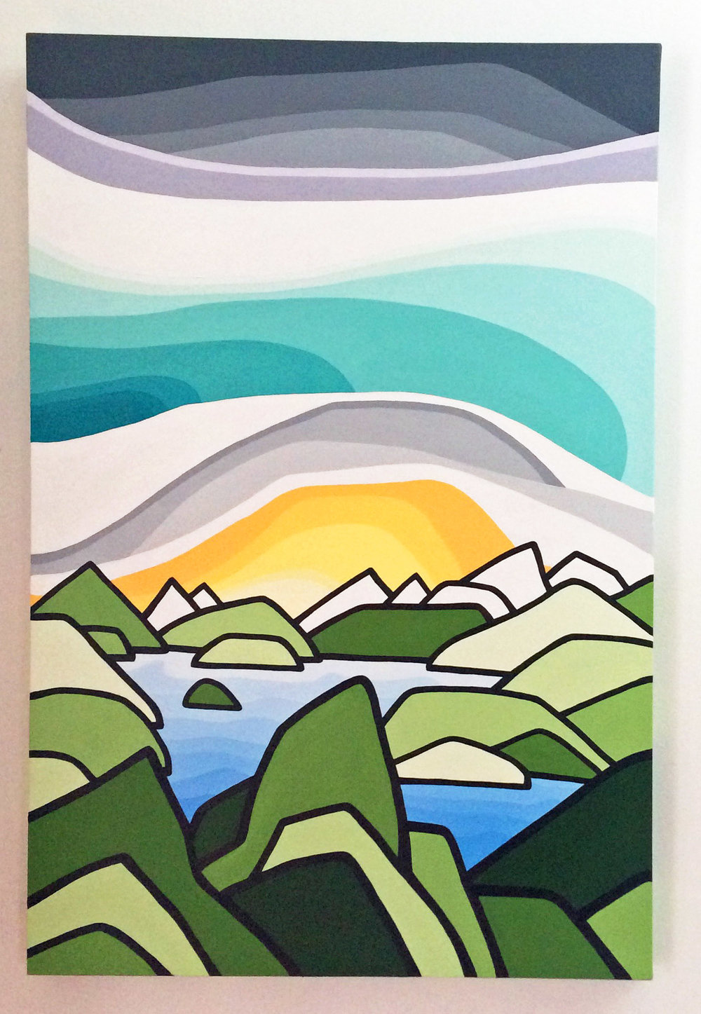 "Title: The Peaks   Size: 36"" x 24"" acrylic on canvas  Price: $600  SOLD!    Email: leannespanza@gmail.com"