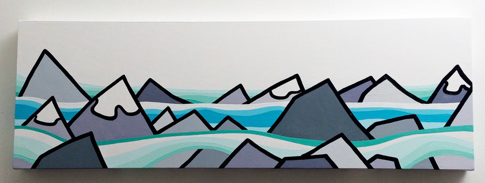 "Title: The Lights  Size: 12"" x 36"" acrylic on canvas  Price: $400  SOLD!   Email: leannespanza@gmail.com"