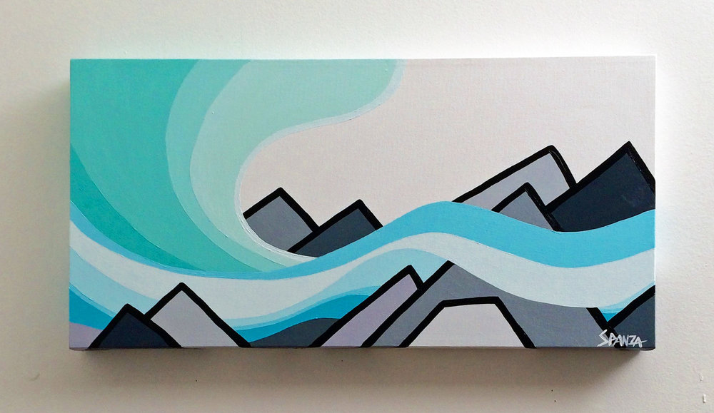 "Title: Northern Lights and Mountains  Size: 12"" x 24"" acrylic on canvas  Price: $300  SOLD   Email: leannespanza@gmail.com"