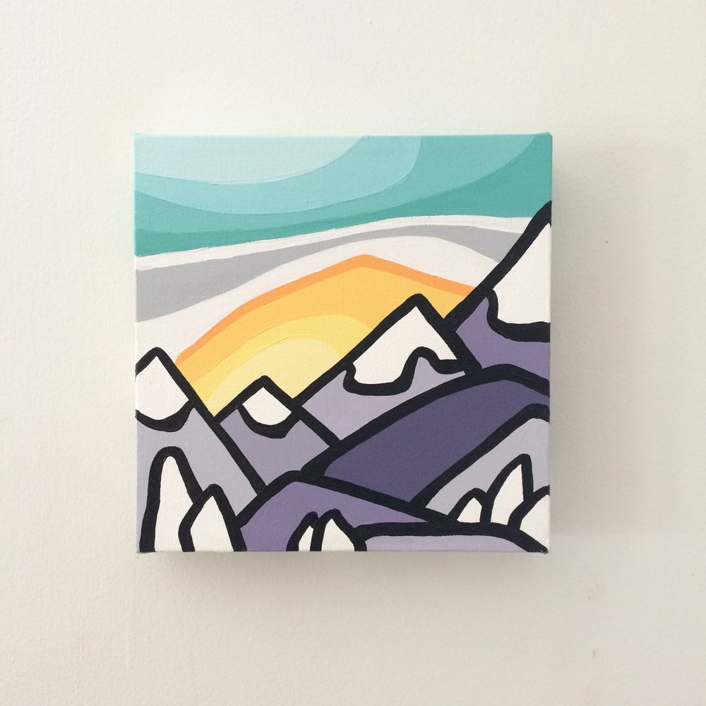 "Title: Mini Snowghost Mountains -  SOLD   Size: 8"" x 8"" acrylic on canvas  Price: $100 shipping available ($10 to Canada)  Click on link below to purchase!   http://leannespanza.com/mystore/8-x-8-mini-snowghosts-mountains"