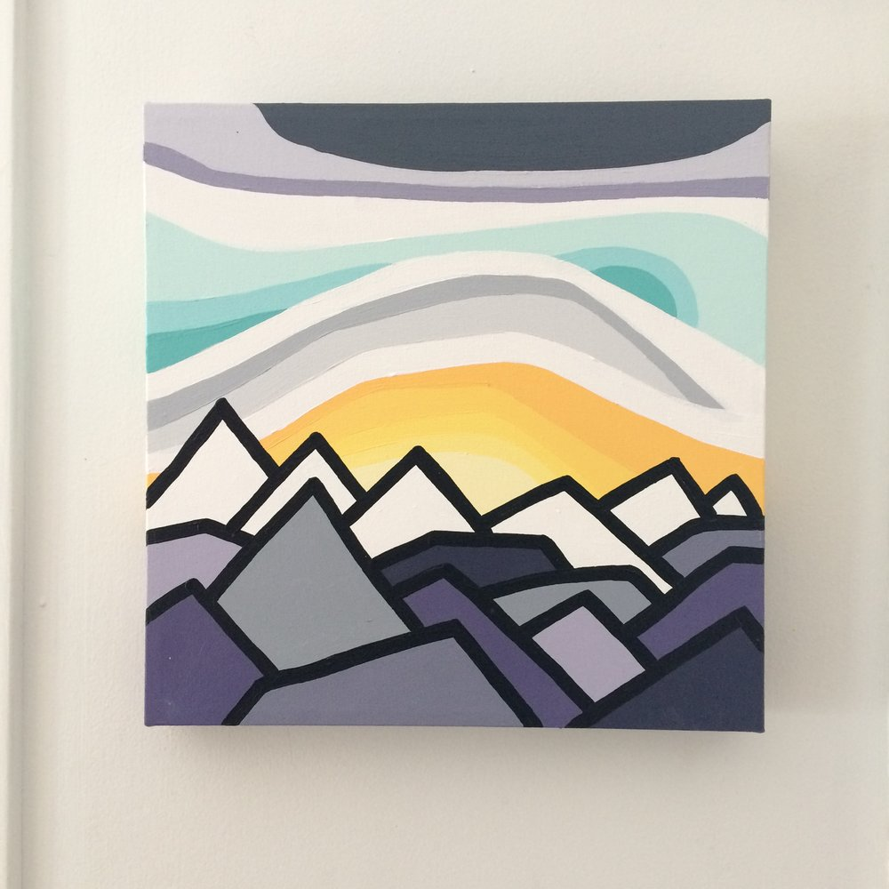"Title: The Peaks  Size:  12"" x 12"" acrylic on canvas  Price:  $150 shipping available ($10 to Canada)    Click on the link below to purchase    http://leannespanza.com/mystore/the-peaks"