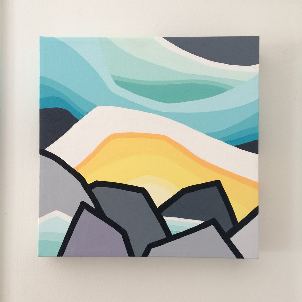 "Title: The Glaciers  Size:  12"" x 12"" acrylic on canvas  Price:  $150 shipping available ($10 to Canada)    Click on the link below to purchase    http://leannespanza.com/mystore/the-glaciers"
